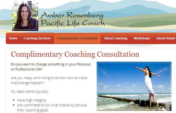 Screenshot of the Pacific Life Coach free consultation web page
