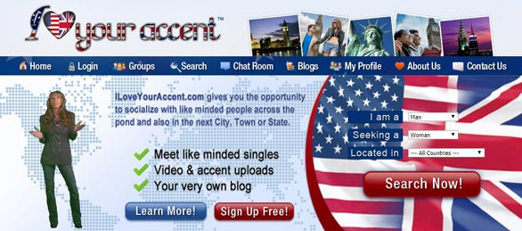 Screenshot of the ILoveYourAccent.com hompage