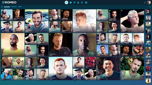 Screenshot of a collage of profile pictures on ROMEO