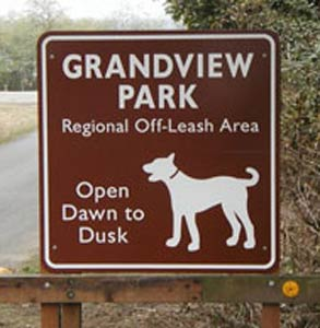 Photo of Grandview Dog Park's sign