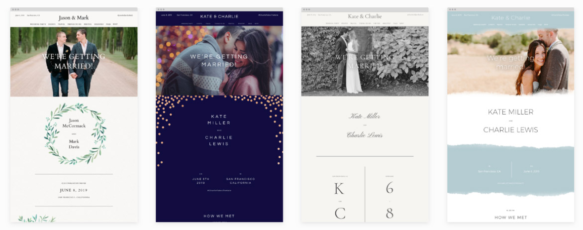 Screenshot of wedding website templates