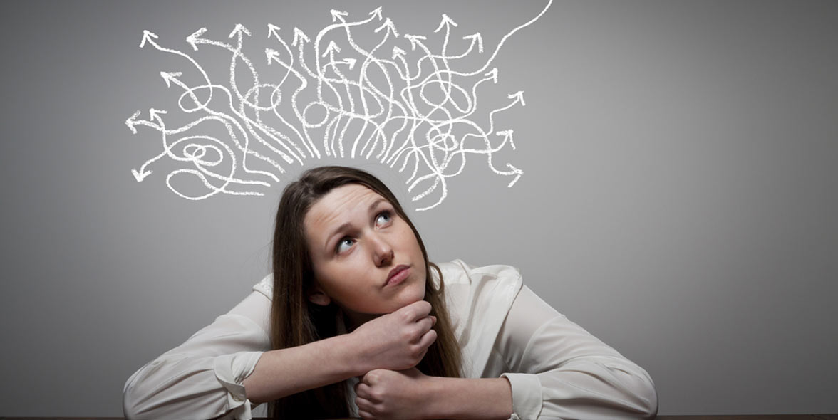 Photo of a woman thinking