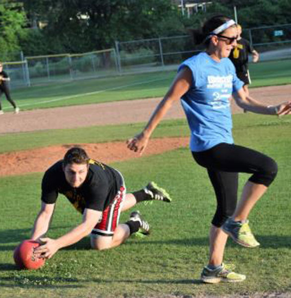 Photo of a kickball game