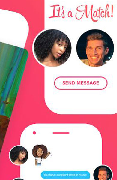 Screenshot of Tinder's match and chat features