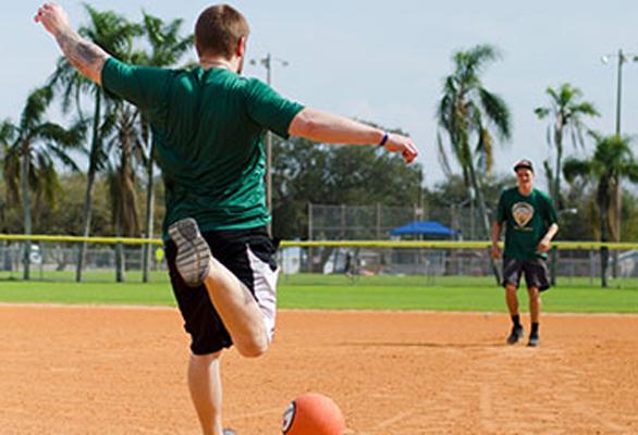 Photo of an adult kickball league