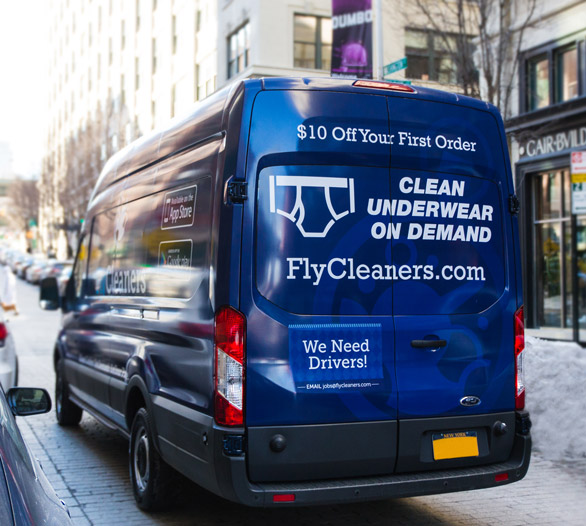 Photo of a FlyCleaners van in New York City