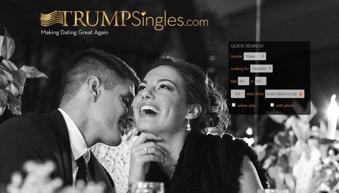 Screenshot of TrumpSingles.com homepage