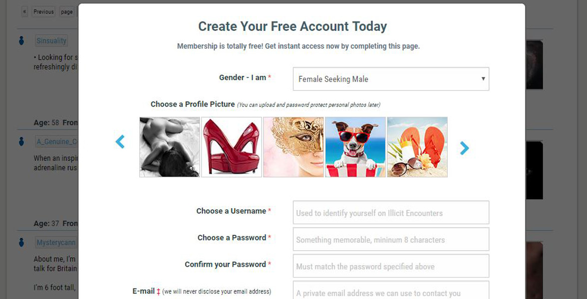 Screenshot of the signup page