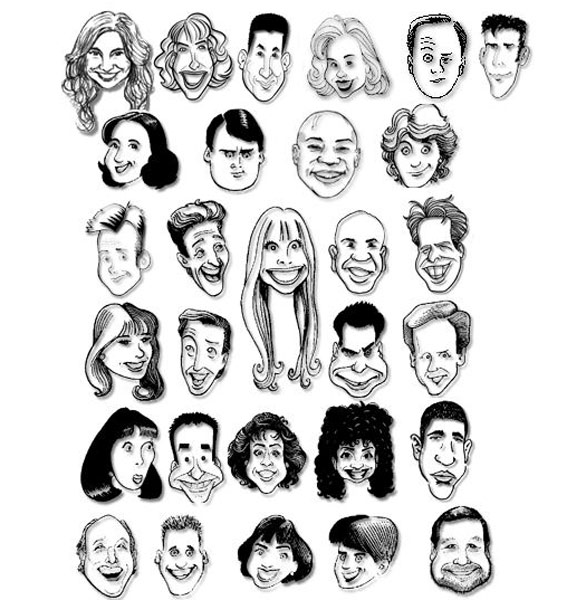 Caricatures of the Capitol Steps cast