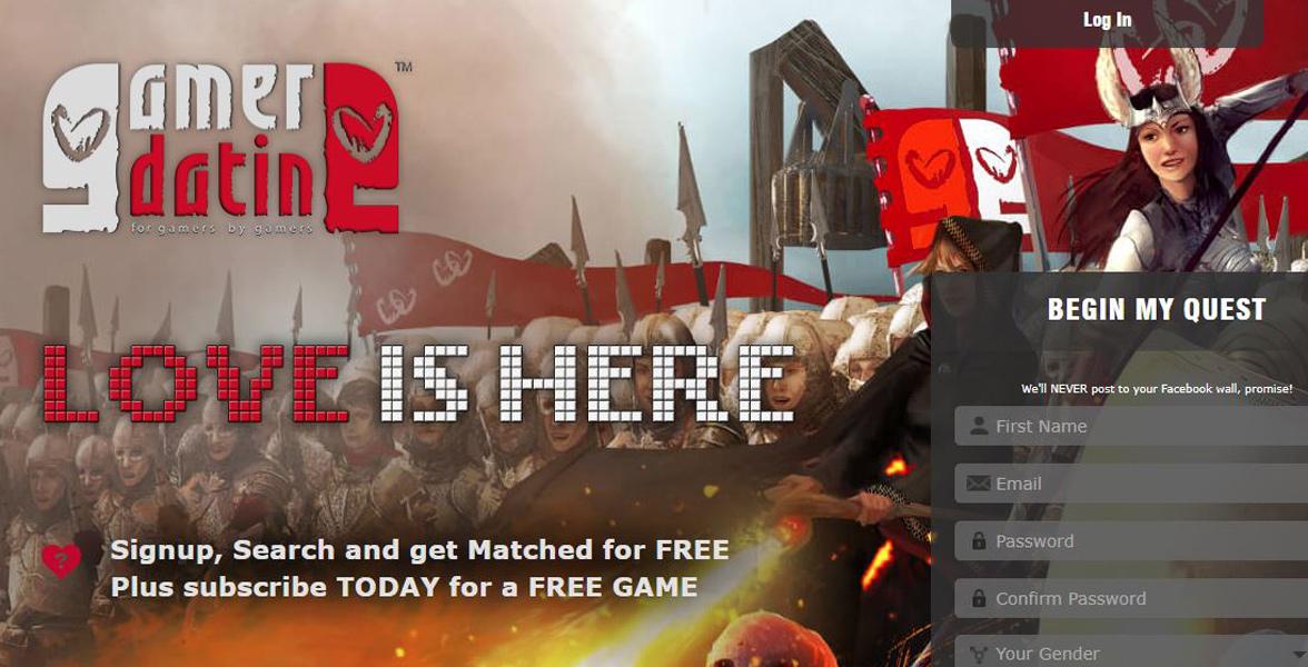 Screenshot of GamerDating's homepage