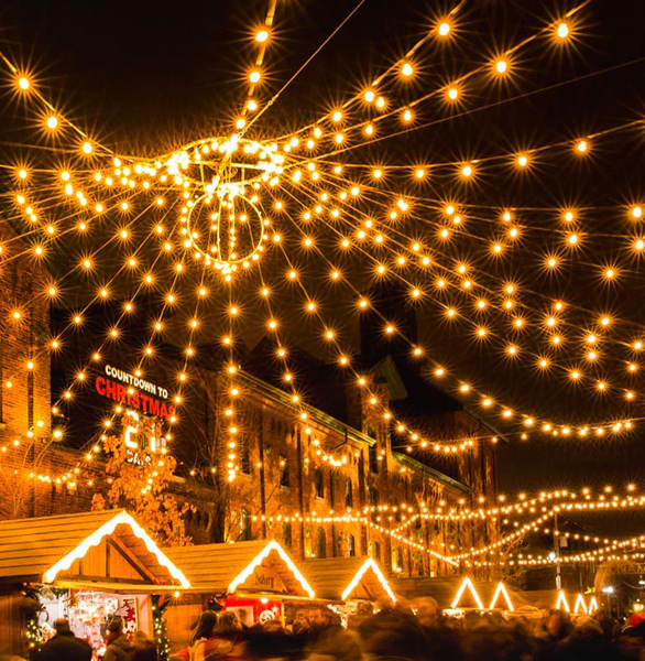 Photo of the Distillery District during Christmas