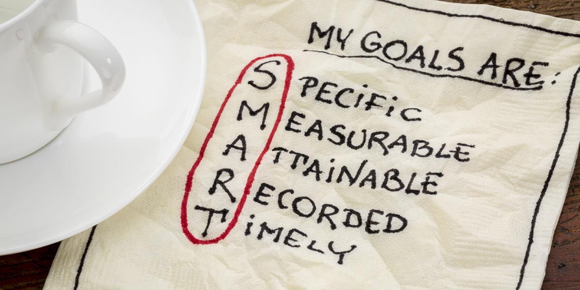 Photo of goals written on a napkin