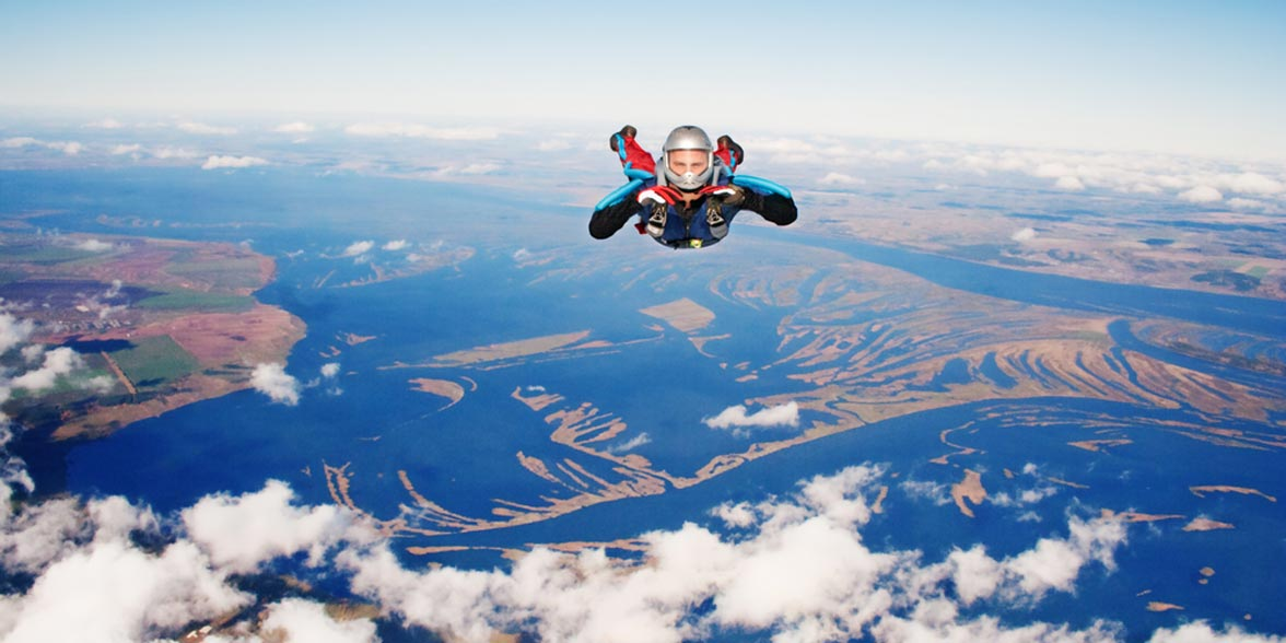 Photo of a man skydiving