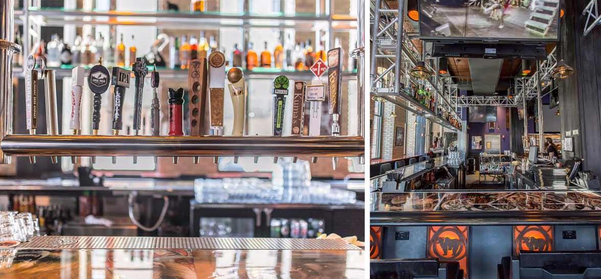 Collage of photos of Kuma's bar