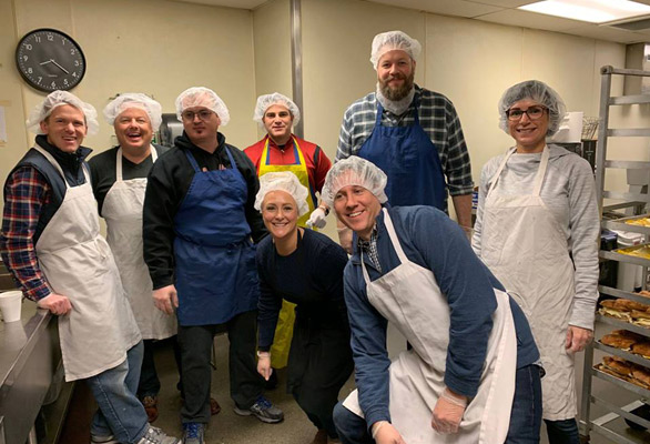 Photo of a volunteer group at The Rescue Mission