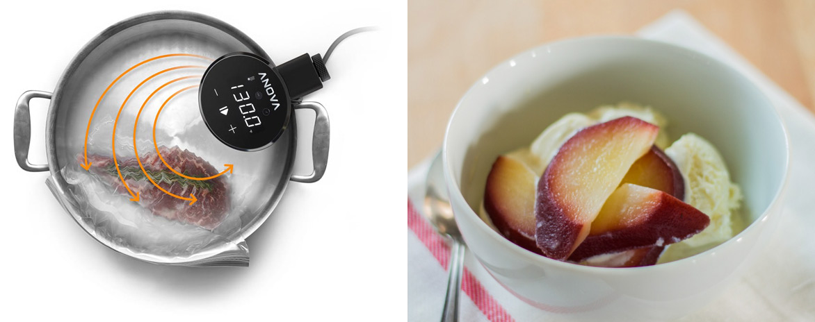 Collage of sou vide cooking and red wine poached pears