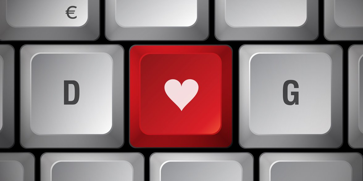 Photo of a heart on a keyboard