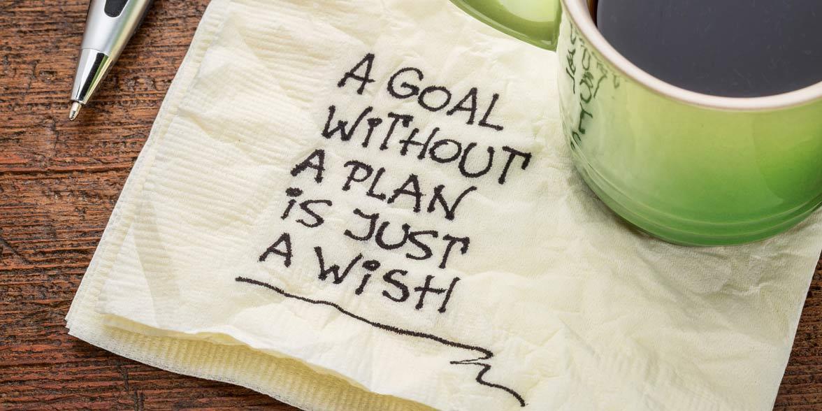 Photo of goals written on a napkin