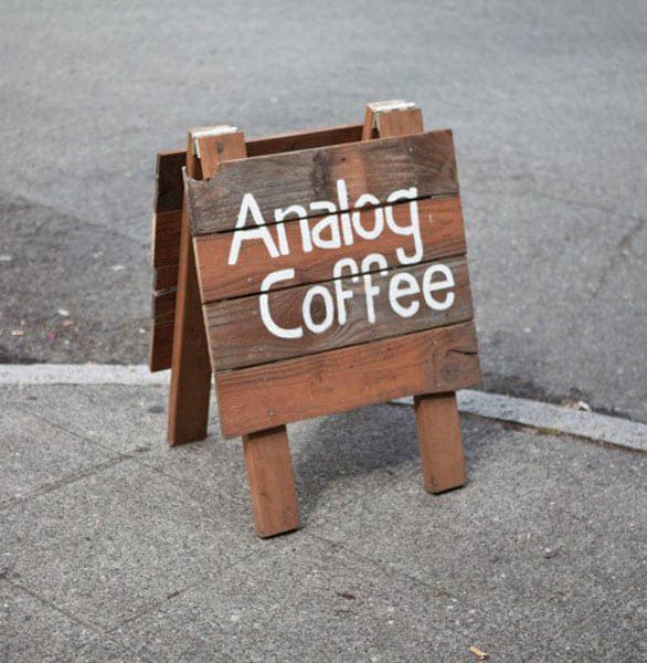 Photo of an Analog Coffee sign