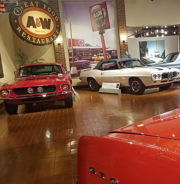 Photo of cars at the Gilmore Car Museum