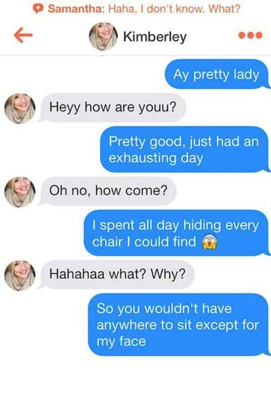 Screenshot of Tinder pick-up lines from BHA