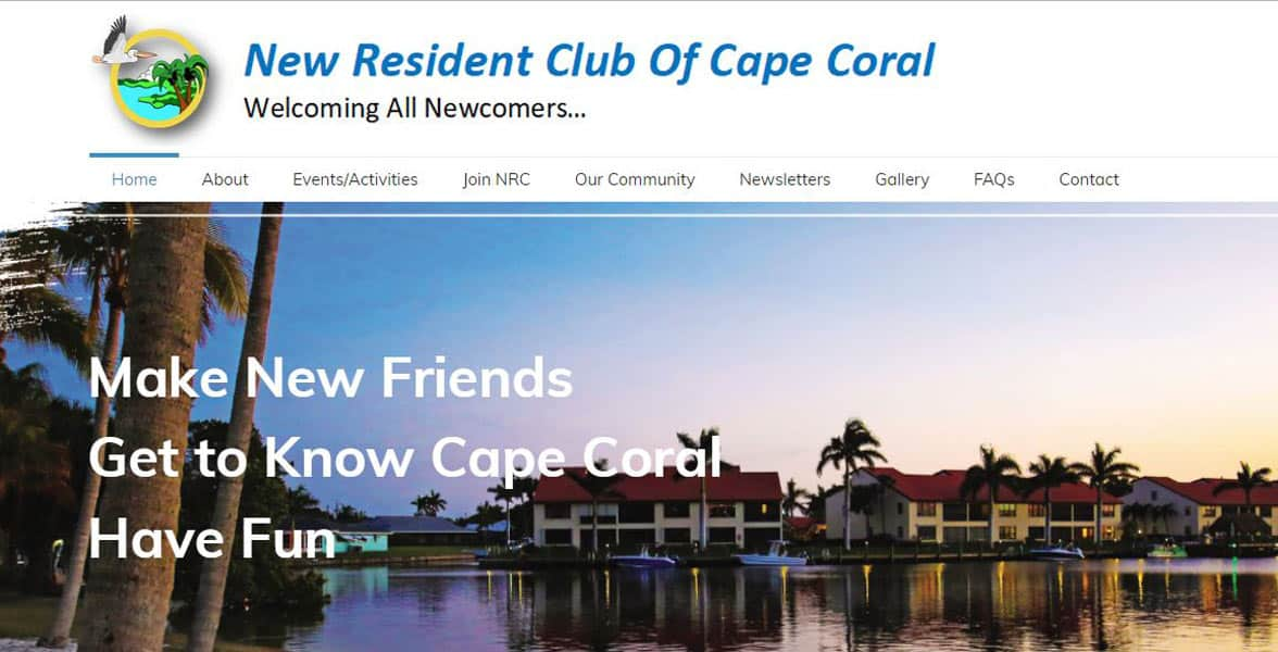 Screenshot of the New Resident Club of Cape Coral