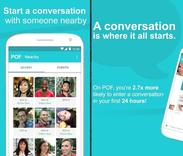 Screenshot of the POF app
