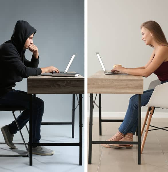 Photo of a woman talking to a criminal online