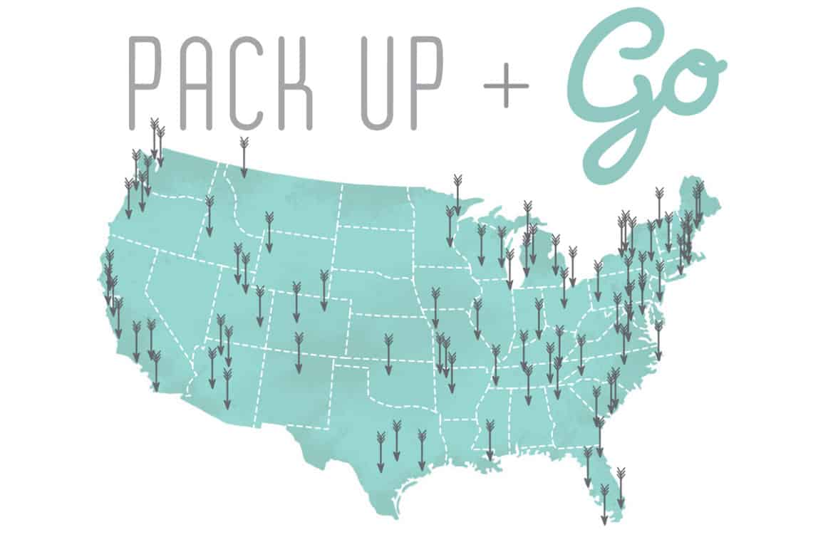 The Pack Up + Go logo and a destination map