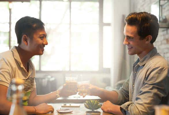 Photo of a gay couple talking