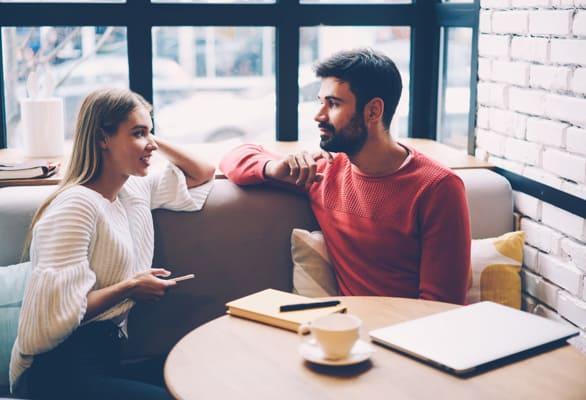 Photo of a couple talking