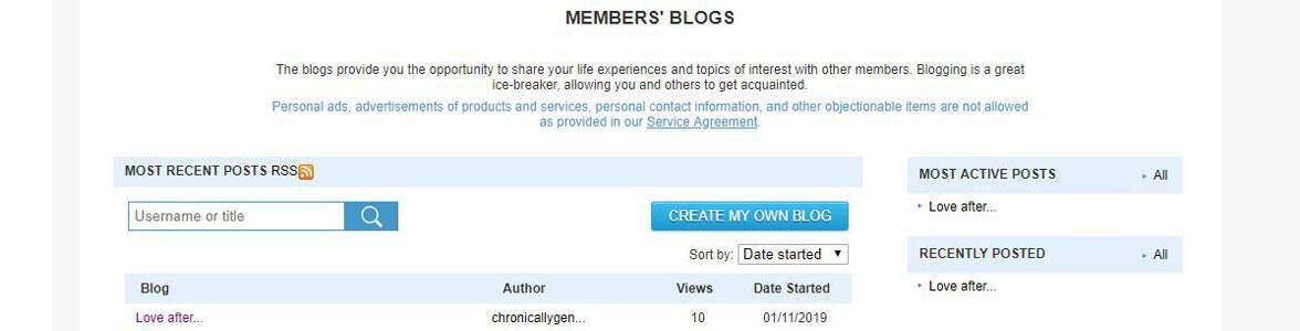 Screenshot of the PozMatch members blog