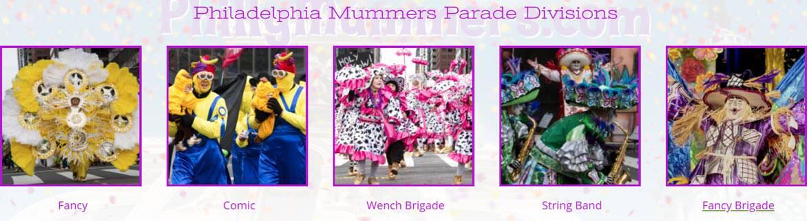 Screenshot of Mummers Parade divisions