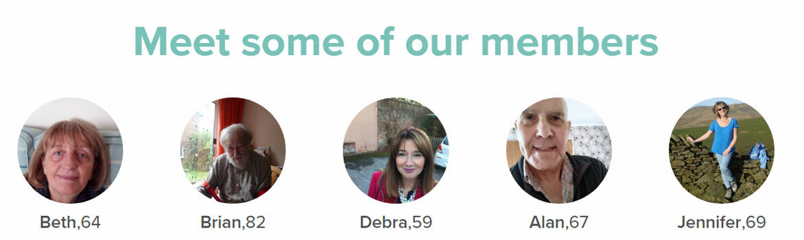 Screenshot of Dating Over 50s members