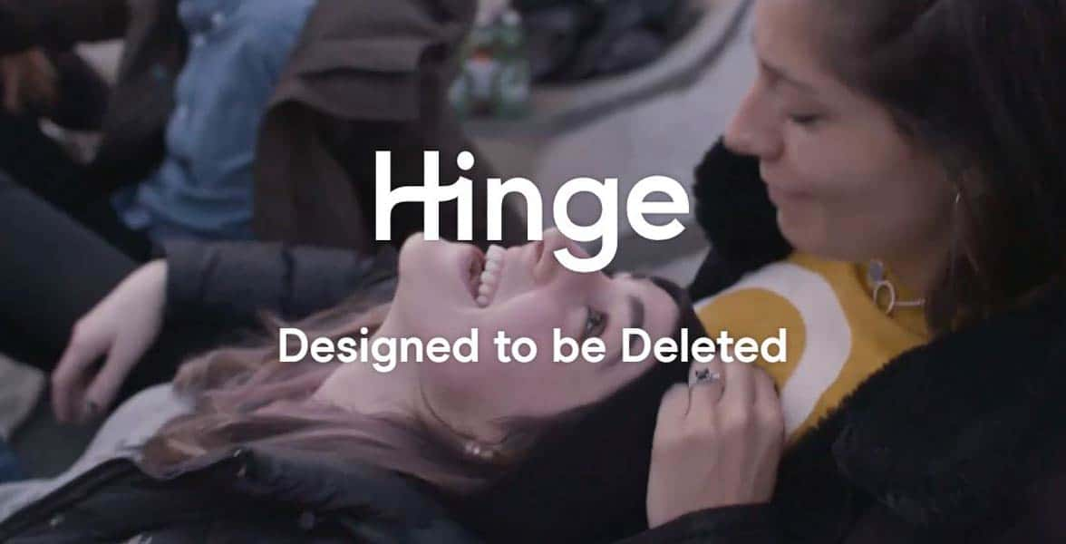 Screenshot of Hinge's homepage