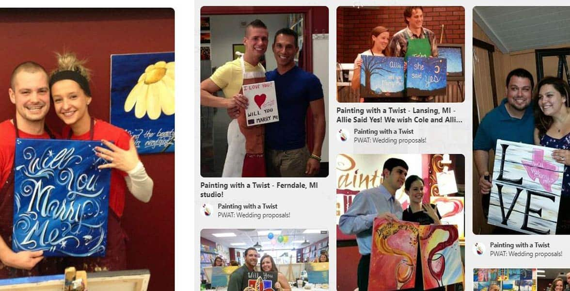 Photos of couples at Painting with a Twist