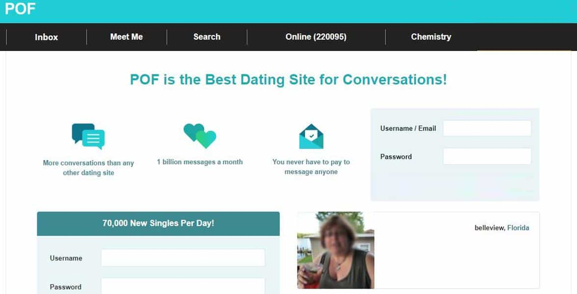 Screenshot of PlentyOfFish