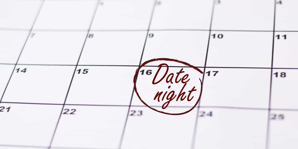 Photo of date night on a calendar