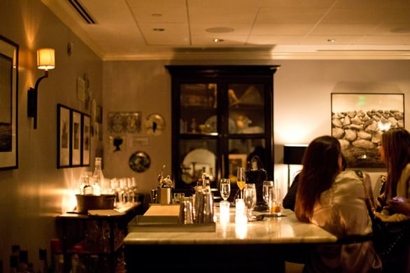 Photo of the interior of The Hawthorne at night