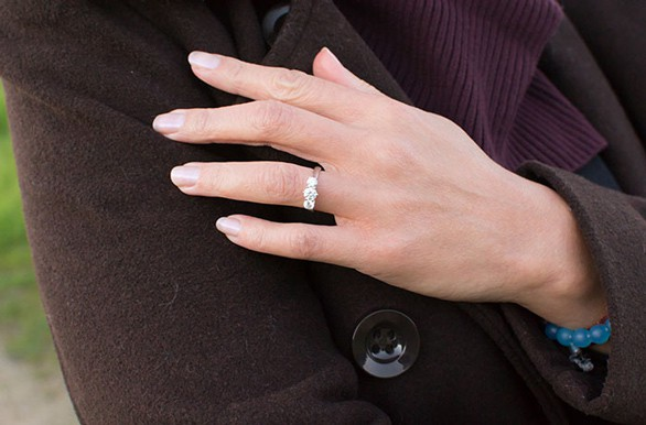 Photo of Anjolee diamond ring on woman's hand