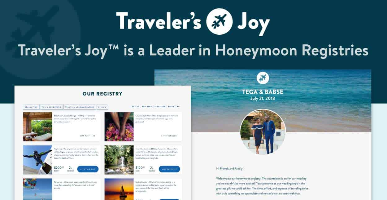 Traveler's Joy™ is a Leader in Honeymoon Registries