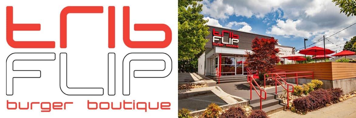 FLIP burger boutique logo and photo of Atlanta location
