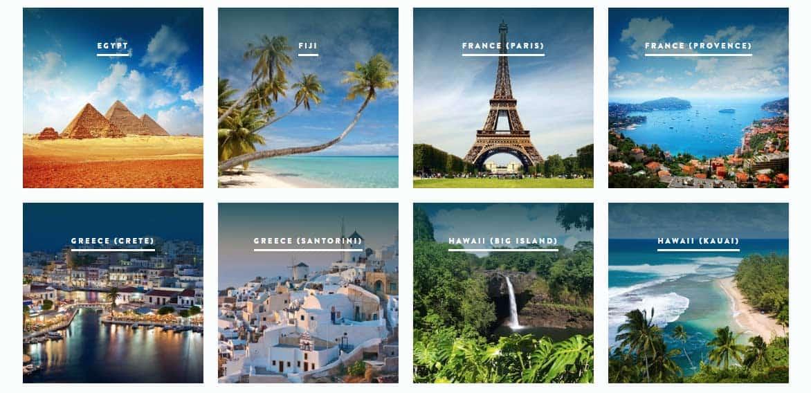 Screenshot of Traveler's Joy destination guides