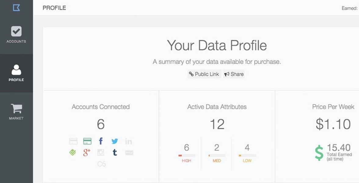 Screenshot from Datacoup