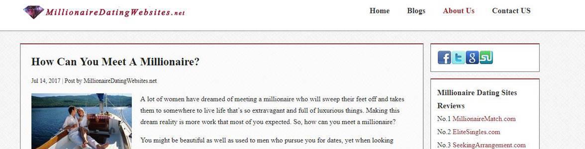 Screenshot of MillionaireDatingWebsites.net