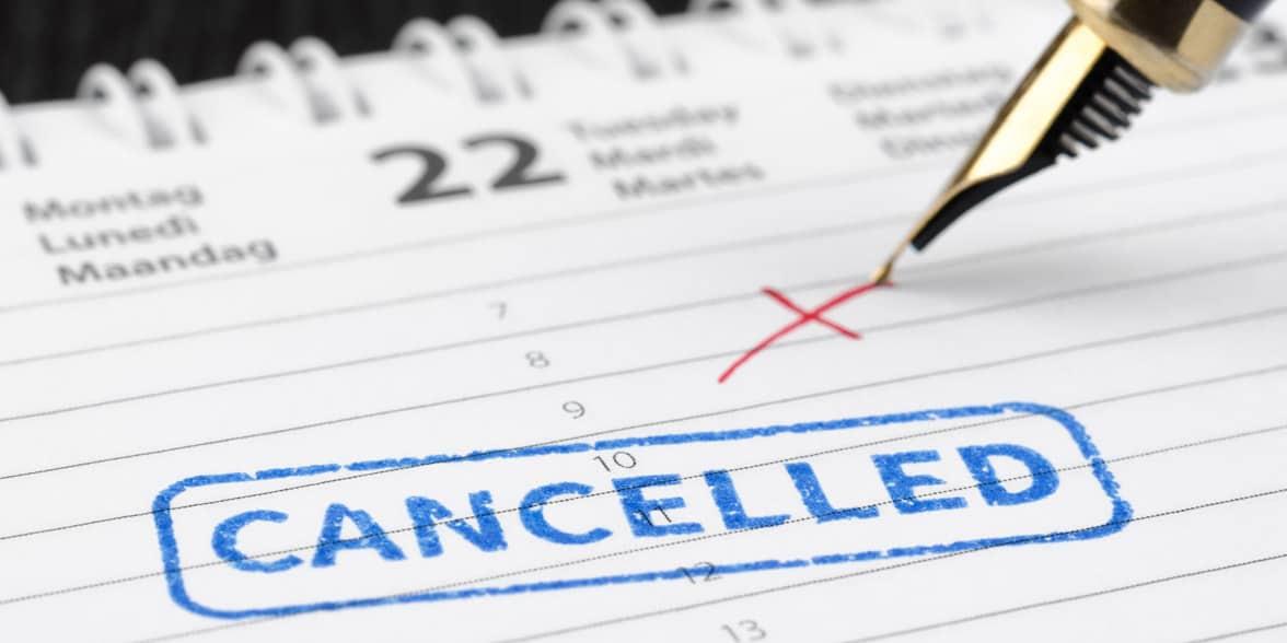 Photo of a canceled event on a calendar