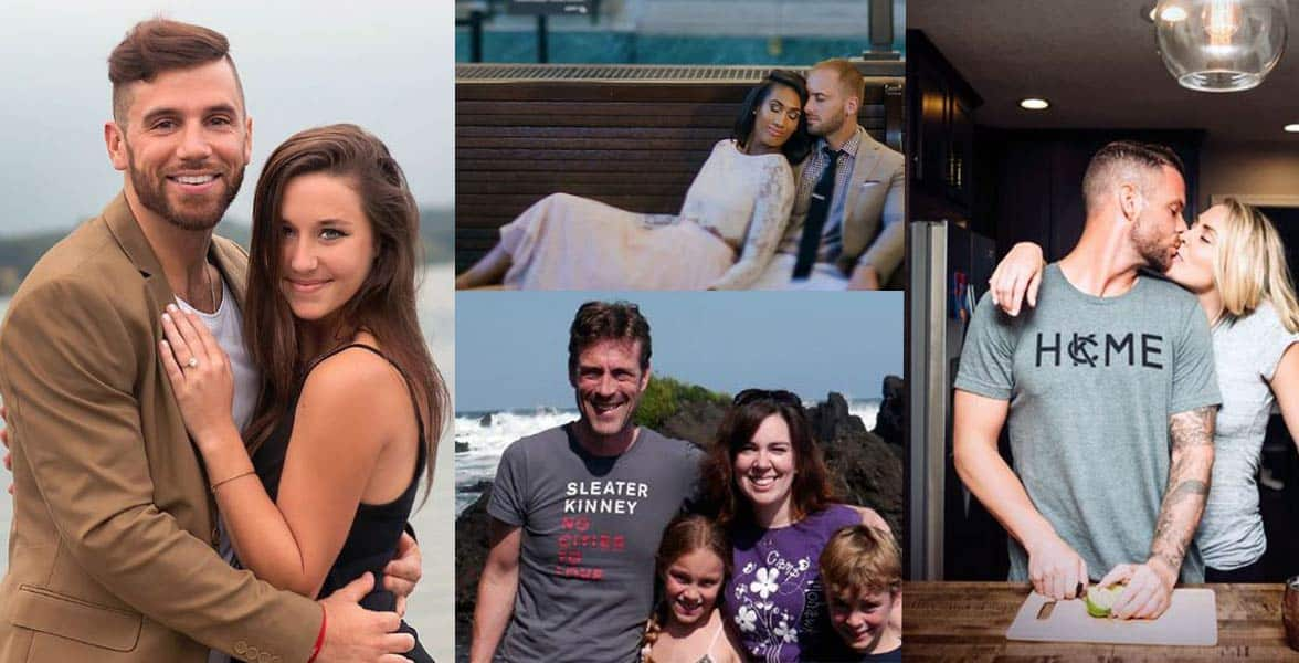 Photo collage of couples who met online