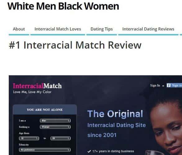 Screenshot of an Interracial Match review