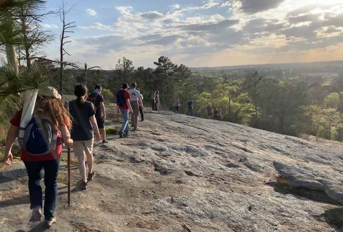 Photo of walking tour through the Arabia Mountain National Heritage Area