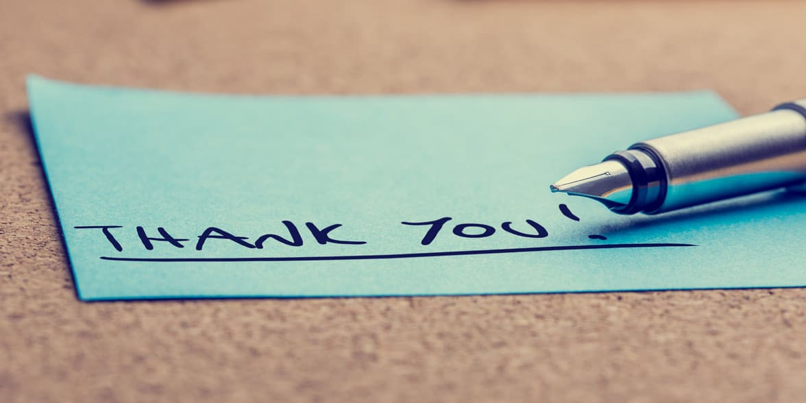 Photo of a thank-you note